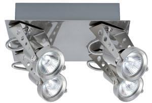 Spotlights Dean Plafonnier 4x50W GU5,3 Nickel satiné 230/12V 2x105VA Métal