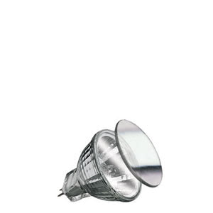 "82221 Лампа галогенная 12V 20W GU4 30*FTD flood MR11 Security (D-35mm, H-38mm) (2000h) серебро Security  Halogen light is brilliant, strong – and quite hot. The Security bulb ensures more safety, due to it""s special coating: 80 percent of its heat is directed out the front. Ideal for downlights: Insulation behind the ceiling is not endangered. 822.21 Paulmann"