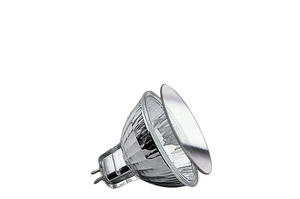 "83231 Лампа галогенная 12V 35W GU5,3 38*FMW flood MR16 Security (D-51mm, H-45mm) (4000h) серебро Security  Halogen light is brilliant, strong – and quite hot. The Security bulb ensures more safety, due to it""s special coating: 80 percent of its heat is directed out the front. Ideal for downlights: Insulation behind the ceiling is not endangered. 832.31 Paulmann"