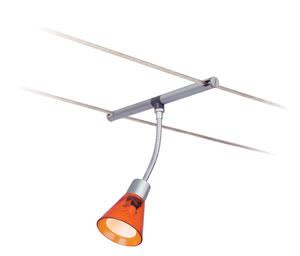97256 Cветильник для тросовой системы WIRE 12V L&E Spice Curcuma 1x35W GU4 12V хром матовый/оранжевы 972.56 Paulmann