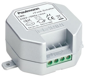97554 Пульт дистанционного упр-я для светильников Built-in 300VA dimmer 230V Built-in radio-controlled dimmer, installation in distributor boxes, ceiling spaces, light shades, furniture etc. For operating lighting systems, fixed lighting, light bulbs, interior and exterior use; for high-voltage lights (230V). Any number of radio transmitters can be used (selective switching). Radio 433.92MHz 975.54 Paulmann