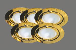 98479 Набор светильников встраиваемых круглых мебельных 5x20W G4 230/12V золото (транс 105VA) 984.79 Paulmann