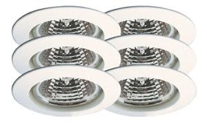 99373 Набор светильников встраиваемых круглых 6x35W GU5,3 230/12V белый (транс 2х105VA) (IP44), шт 993.73 Paulmann