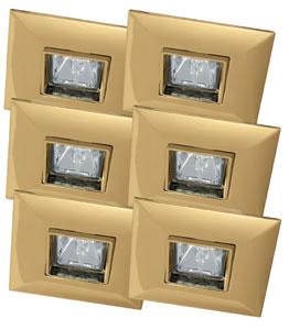 99527 Набор светильников встраиваемых квадратных поворотных Quadro 6x35W GU5,3 230/12V золото (транс 995.27 Paulmann