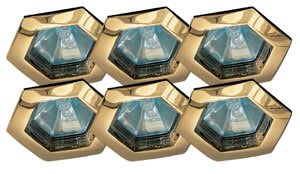 99562 Набор светильников встраиваемых шестигранных Hexa 6x35W GU5,3 230/12V золото (транс 2х105VA) (IP44) 995.62 Paulmann